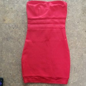 Red Strapless Form Fitting Dress